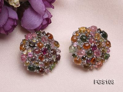 Fine Natural Tourmaline Pendant and Stud Earrings Set Jewelry FGS108 Image 4