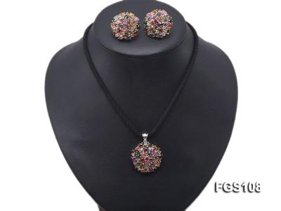 Fine Natural Tourmaline Pendant and Stud Earrings Set Jewelry FGS108 Image 8