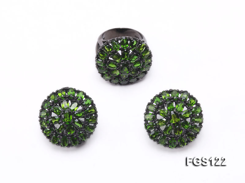 Fine Natural Tsavorite Ring and Earrings Set Jewelry big Image 1