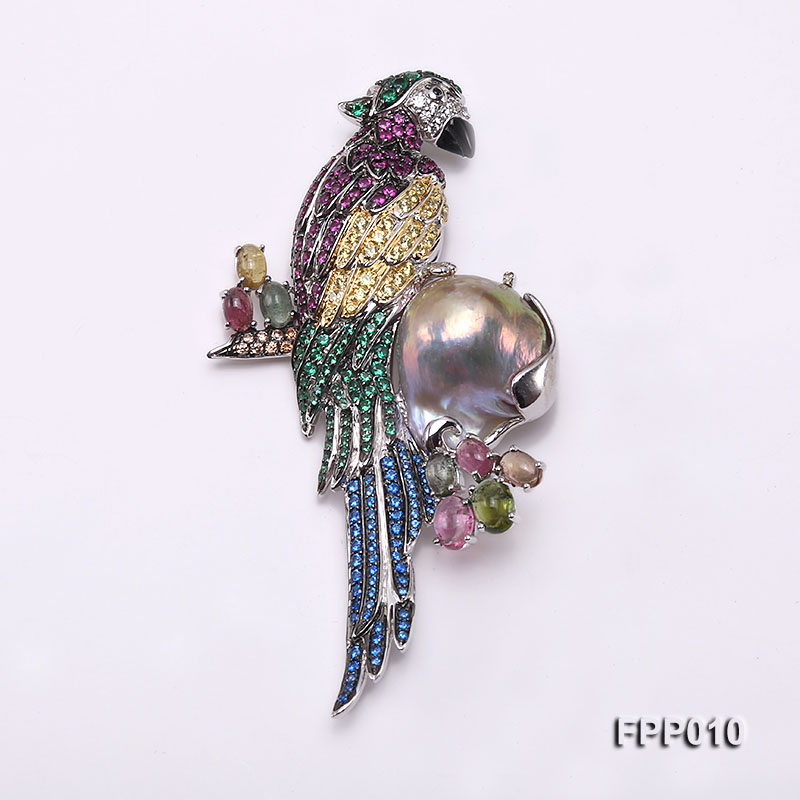 Fine Parrot-style Lavender Baroque Pearl Pendant/Brooch big Image 1