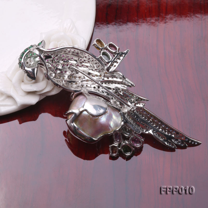 Fine Parrot-style Lavender Baroque Pearl Pendant/Brooch big Image 2