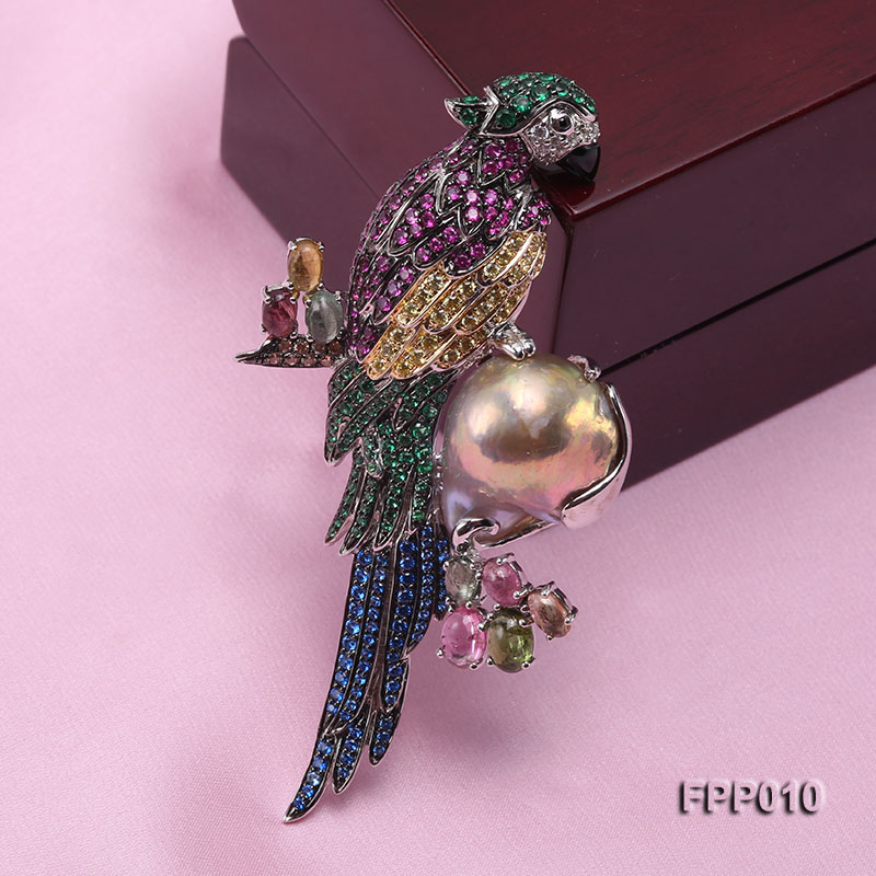 Fine Parrot-style Lavender Baroque Pearl Pendant/Brooch big Image 5