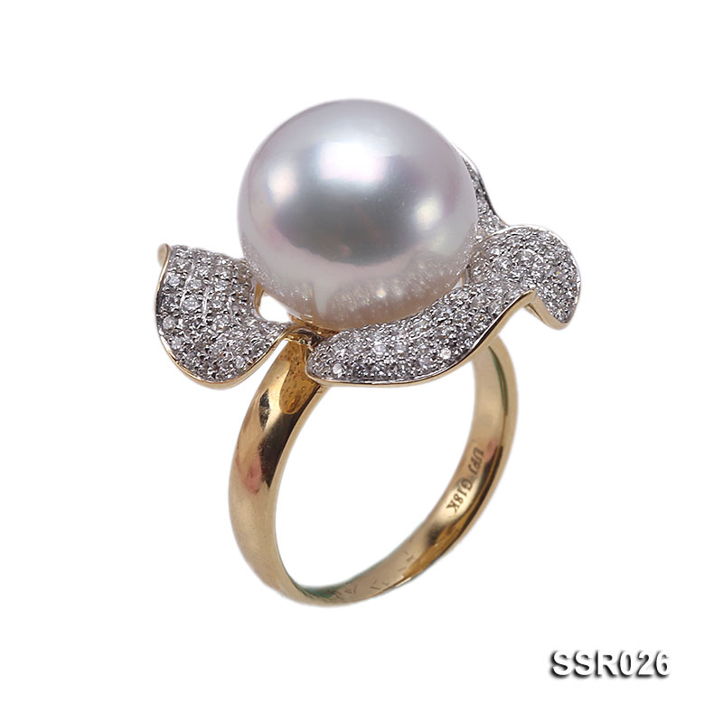 Luxury 13.5mm Shiny White South Sea Pearl Ring  big Image 1