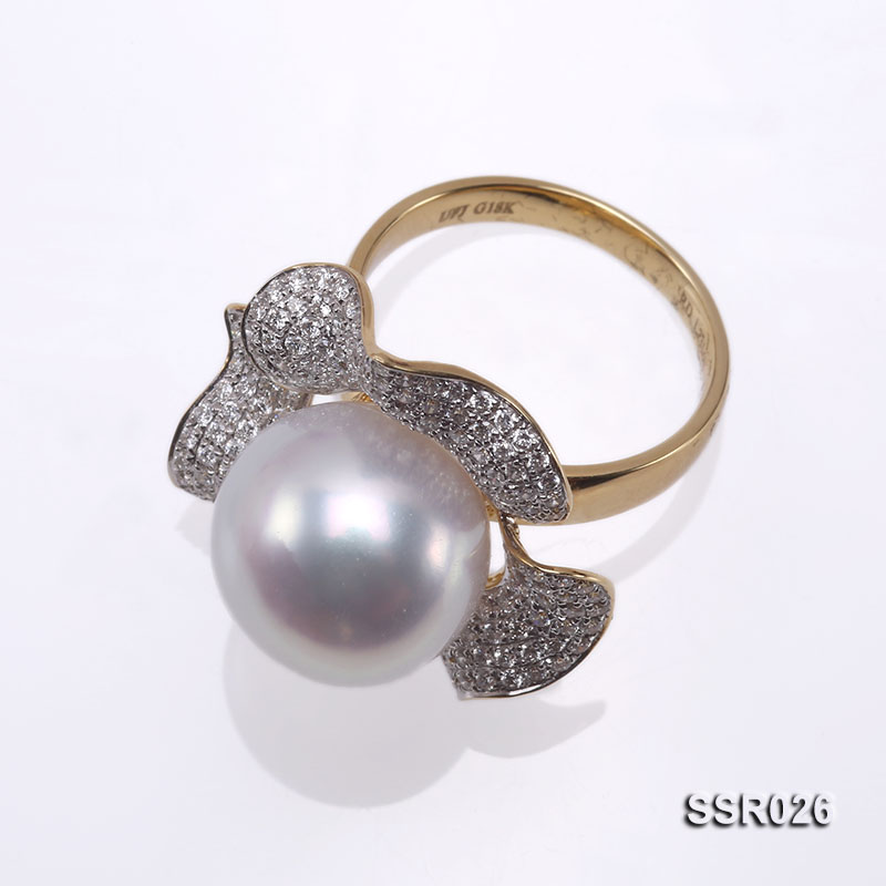Luxury 13.5mm Shiny White South Sea Pearl Ring  big Image 5