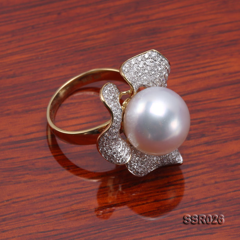 Luxury 13.5mm Shiny White South Sea Pearl Ring  big Image 6