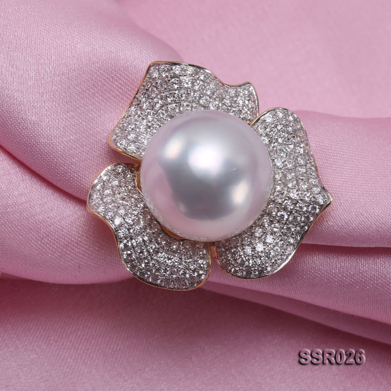 Luxury 13.5mm Shiny White South Sea Pearl Ring  big Image 7