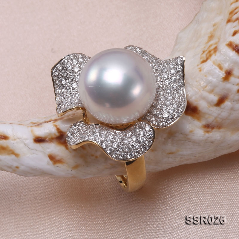 Luxury 13.5mm Shiny White South Sea Pearl Ring  big Image 8