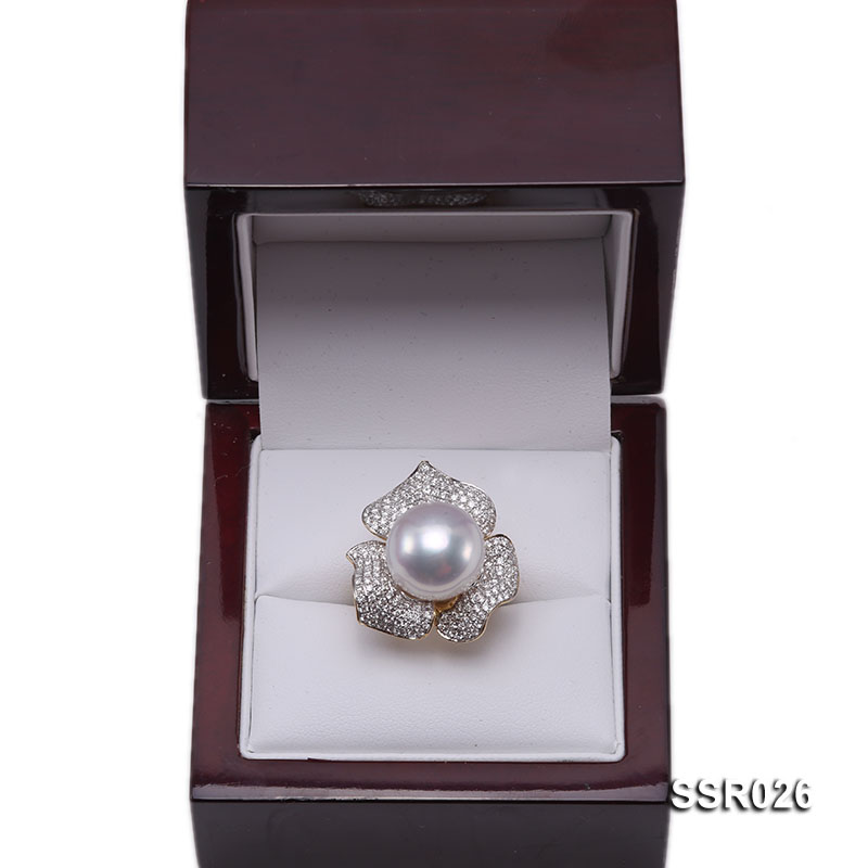 Luxury 13.5mm Shiny White South Sea Pearl Ring  big Image 10