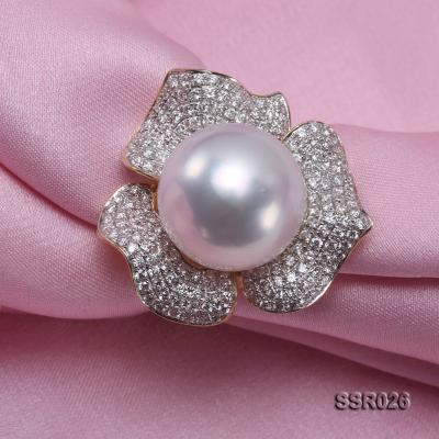 Luxury 13.5mm Shiny White South Sea Pearl Ring  SSR026 Image 7