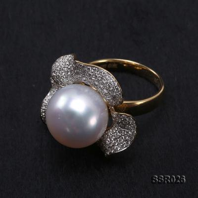 Luxury 13.5mm Shiny White South Sea Pearl Ring  SSR026 Image 9