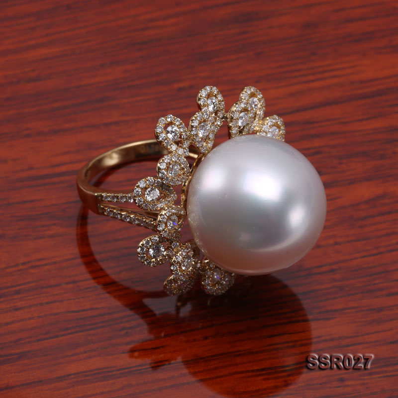 Luxury 17.8mm Shiny White South Sea Pearl Ring  big Image 3