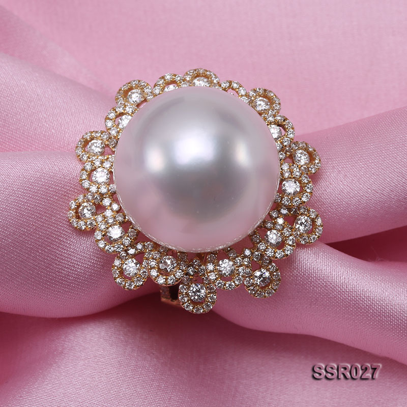 Luxury 17.8mm Shiny White South Sea Pearl Ring  big Image 4