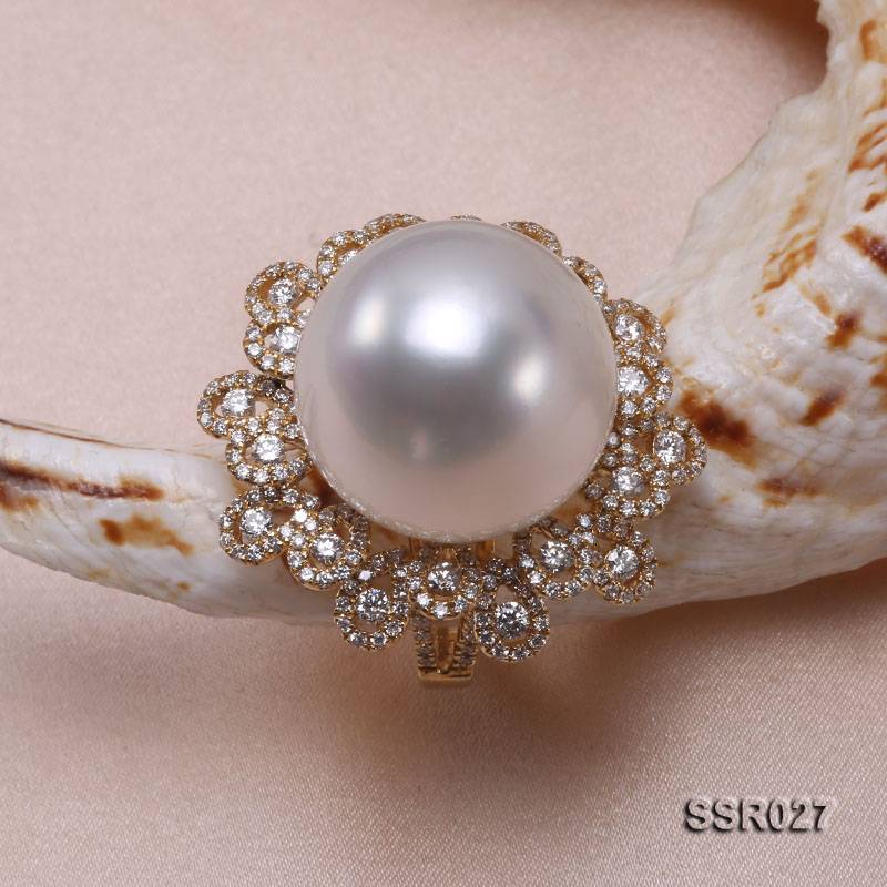 Luxury 17.8mm Shiny White South Sea Pearl Ring  big Image 5