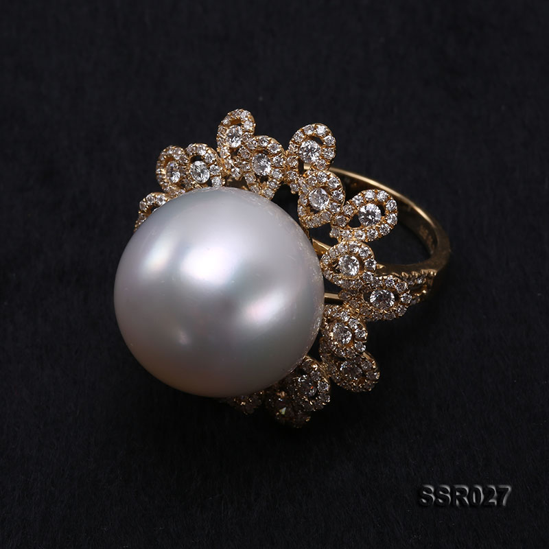 Luxury 17.8mm Shiny White South Sea Pearl Ring  big Image 6