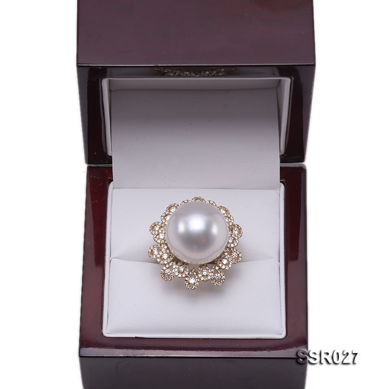 Luxury 17.8mm Shiny White South Sea Pearl Ring  big Image 7