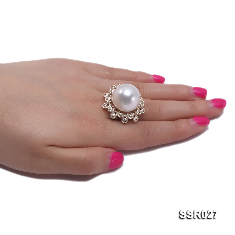 Luxury 17.8mm Shiny White South Sea Pearl Ring  big Image 8