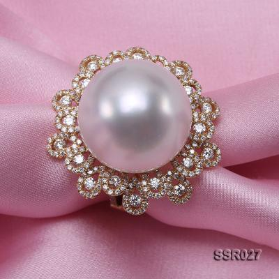 Luxury 17.8mm Shiny White South Sea Pearl Ring  SSR027 Image 4