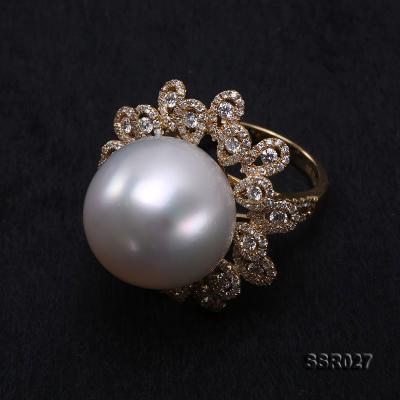 Luxury 17.8mm Shiny White South Sea Pearl Ring  SSR027 Image 6
