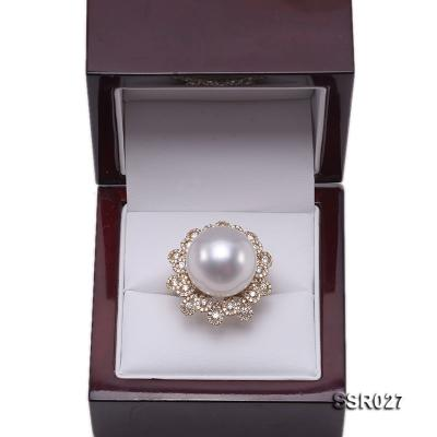Luxury 17.8mm Shiny White South Sea Pearl Ring  SSR027 Image 7
