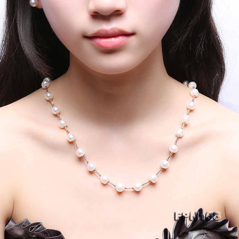 Romantic 9-10mm Flatly Round Freshwater Pearl Necklace in Sterling Silver big Image 9
