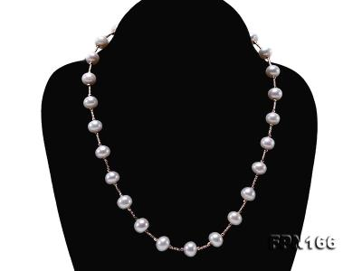 Romantic 9-10mm Flatly Round Freshwater Pearl Necklace in Sterling Silver FPN166 Image 5