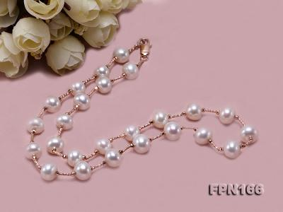 Romantic 9-10mm Flatly Round Freshwater Pearl Necklace in Sterling Silver FPN166 Image 7