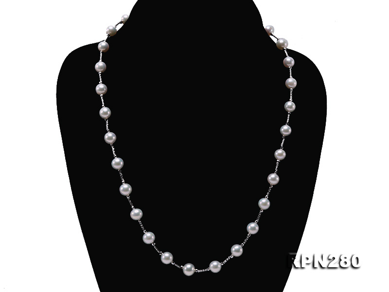 Delicate Sterling Silver 7.5-8.5mm Round White Tin Cup Pearl Necklace big Image 5