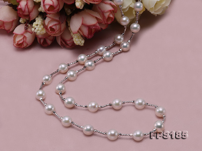 Delicate Sterling Silver 7.5-8.5mm Round White Tin Cup Pearl Necklace big Image 7