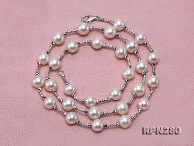 Delicate Sterling Silver 7.5-8.5mm Round White Tin Cup Pearl Necklace RPN280 Image 3