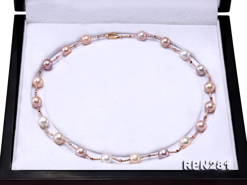 Delicate Sterling Silver 8.5-9mm Multicolor Round Tin Cup Pearl Necklace big Image 6