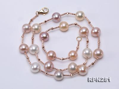 Delicate Sterling Silver 8.5-9mm Multicolor Round Tin Cup Pearl Necklace RPN281 Image 3