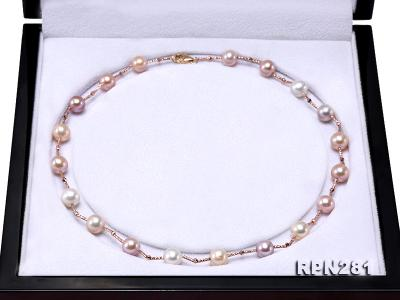 Delicate Sterling Silver 8.5-9mm Multicolor Round Tin Cup Pearl Necklace RPN281 Image 6