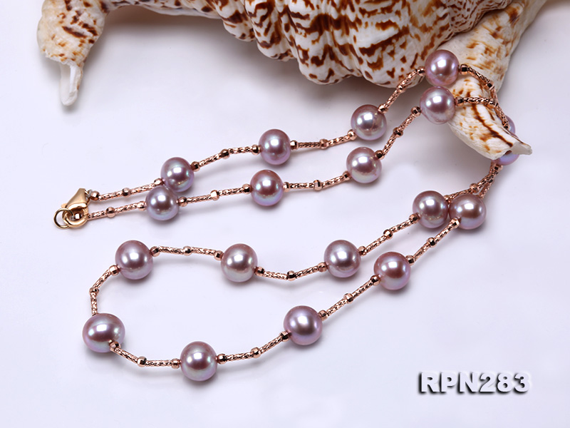 Delicate Sterling Silver 8.5-9.5mm Round Lavender Tin Cup Pearl Necklace big Image 2