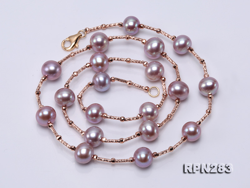 Delicate Sterling Silver 8.5-9.5mm Round Lavender Tin Cup Pearl Necklace big Image 3