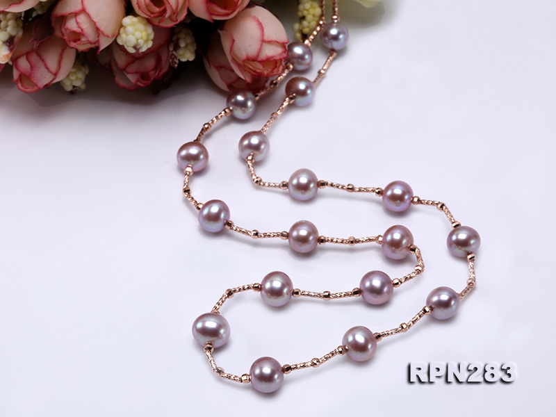 Delicate Sterling Silver 8.5-9.5mm Round Lavender Tin Cup Pearl Necklace big Image 4