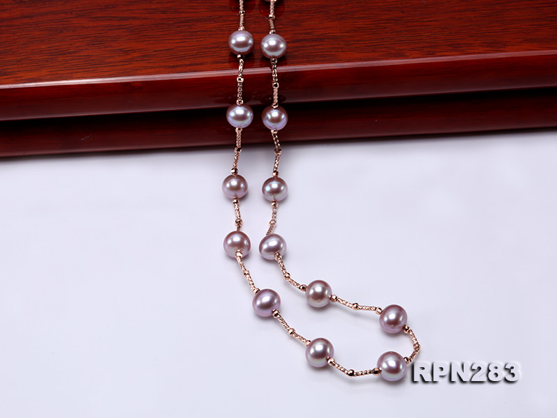 Delicate Sterling Silver 8.5-9.5mm Round Lavender Tin Cup Pearl Necklace big Image 7