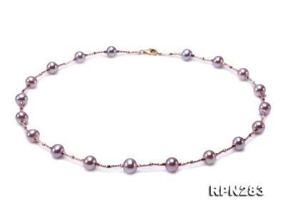 Delicate Sterling Silver 8.5-9.5mm Round Lavender Tin Cup Pearl Necklace RPN283 Image 1