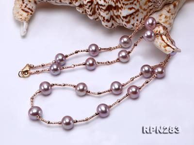 Delicate Sterling Silver 8.5-9.5mm Round Lavender Tin Cup Pearl Necklace RPN283 Image 2
