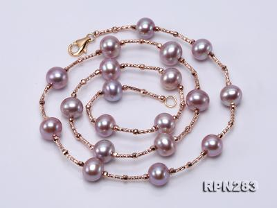Delicate Sterling Silver 8.5-9.5mm Round Lavender Tin Cup Pearl Necklace RPN283 Image 3