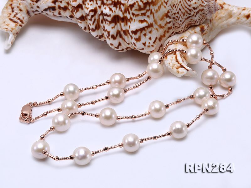 Delicate Sterling Silver 9.5-10mm Round White Tin Cup Pearl Necklace big Image 2