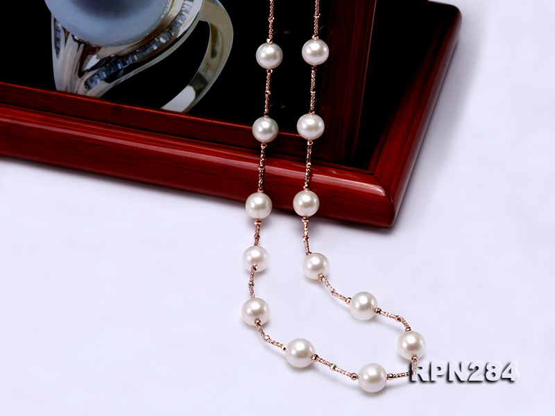 Delicate Sterling Silver 9.5-10mm Round White Tin Cup Pearl Necklace big Image 6