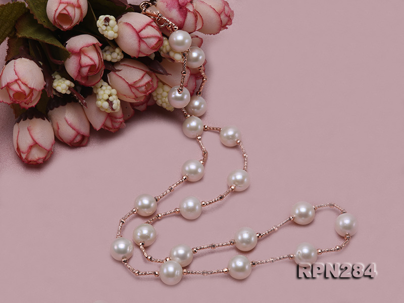 Delicate Sterling Silver 9.5-10mm Round White Tin Cup Pearl Necklace big Image 7