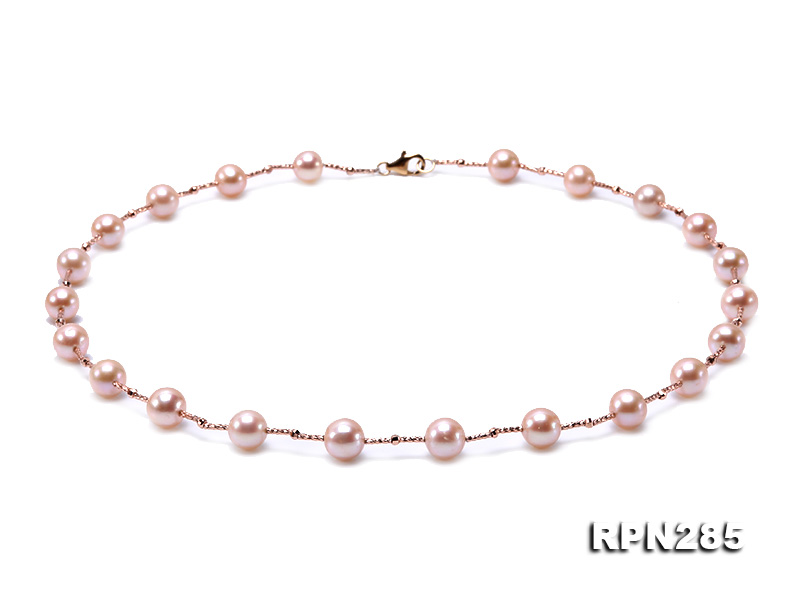 Delicate Sterling Silver 8.5-9.5mm Round Pink Tin Cup Pearl Necklace big Image 1