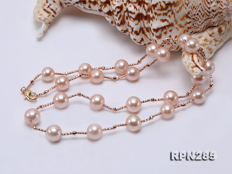 Delicate Sterling Silver 8.5-9.5mm Round Pink Tin Cup Pearl Necklace big Image 2