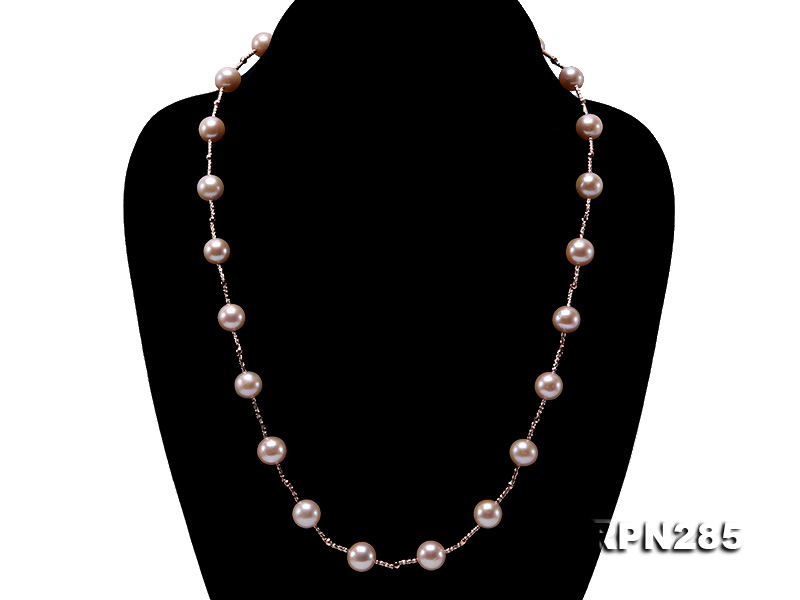 Delicate Sterling Silver 8.5-9.5mm Round Pink Tin Cup Pearl Necklace big Image 4