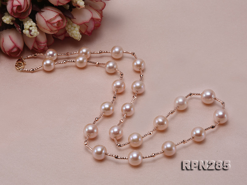 Delicate Sterling Silver 8.5-9.5mm Round Pink Tin Cup Pearl Necklace big Image 5