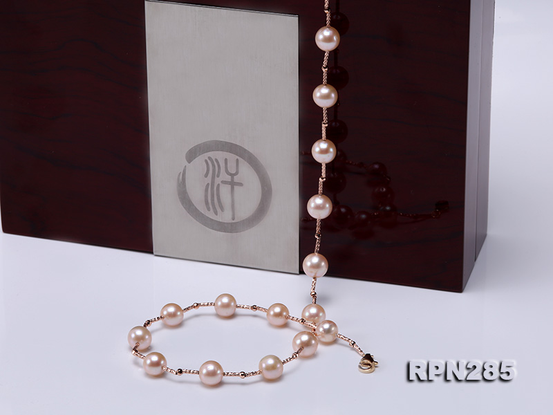 Delicate Sterling Silver 8.5-9.5mm Round Pink Tin Cup Pearl Necklace big Image 6