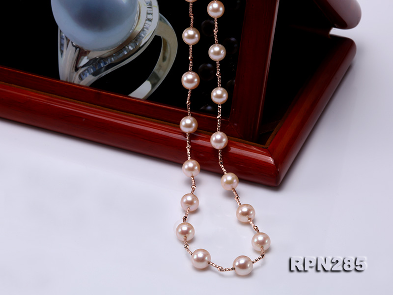 Delicate Sterling Silver 8.5-9.5mm Round Pink Tin Cup Pearl Necklace big Image 7