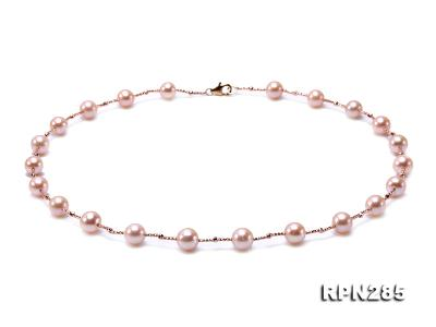 Delicate Sterling Silver 8.5-9.5mm Round Pink Tin Cup Pearl Necklace RPN285 Image 1