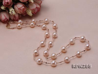 Delicate Sterling Silver 8.5-9.5mm Round Pink Tin Cup Pearl Necklace RPN285 Image 5